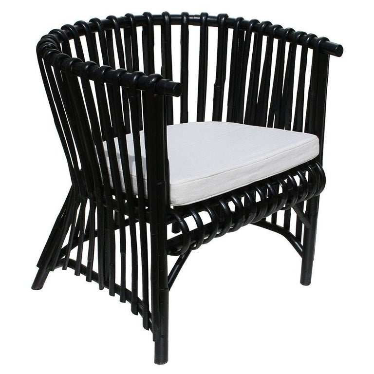 Design Black Rattan Armchair For Sale At 1stdibs