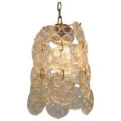Design Brass and Glass Pendant / Chandelier by Zelezny Brod, 1970s