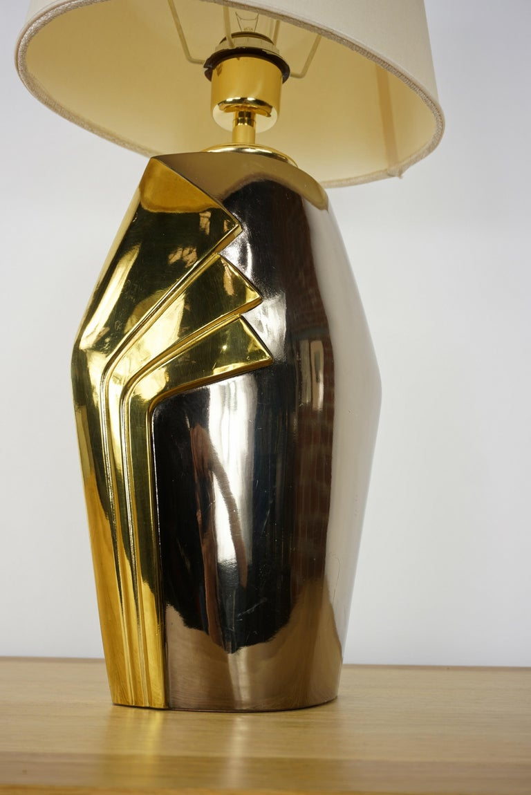 Design Chrome Metal and Brass Table Lamp In Good Condition For Sale In Halluin, FR