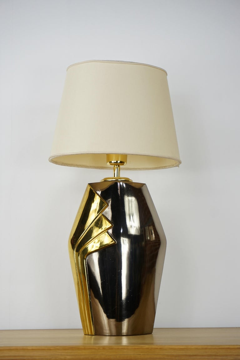 Design Chrome Metal and Brass Table Lamp For Sale 2