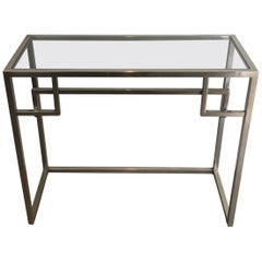 Design Chromed Console Table, French, circa 1970