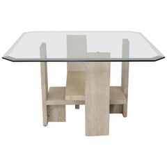 Design Coffee Table in Travertine and Glass by Willy Ballez