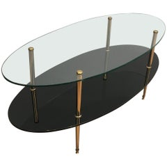 Design Coffee Table Made of Brass, Glass and Black Lacquer Glass