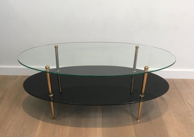 Design Coffee Table Made Of Brass Glass And Black Lacquer Glass