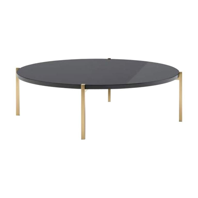 Design Coffee Table, Top in Lacquered Granite Stainless Steel Feet Gilded