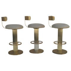 Design For Leisure Leather and Brass Bar Counter Stools Set of 3