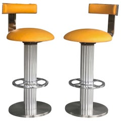 Design for Leisure Pair of Yellow Swivel Bar Stools, 1980s