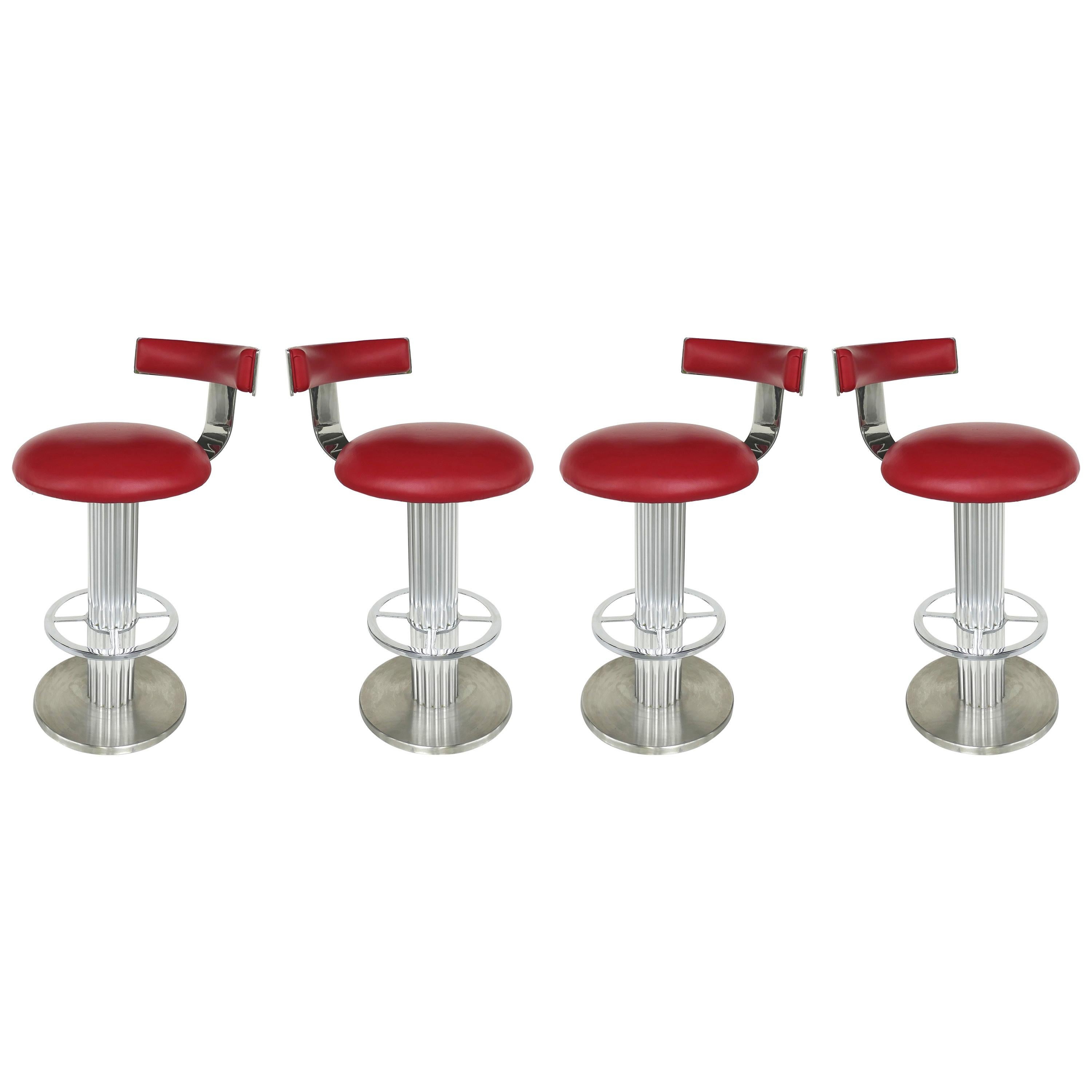Design for Leisure Stainless and Leather Bar Stools, Set of 4 Swivel Stools