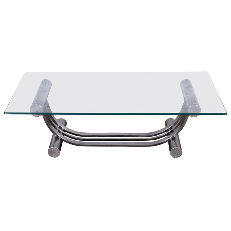 Deco Chrome Coffee Table: Design Institute America Art Deco Style Chrome And Glass
