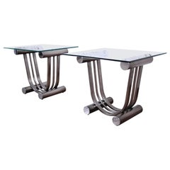 Design Institute America Art Deco Style Chrome and Glass Side Table, Pair