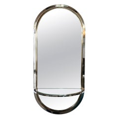Design Institute America Chrome and Inlaid Brass Frame Wall Mirror with Shelf