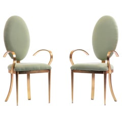 Design Institute of America Brushed Brass Tall Oval Back Side Chairs