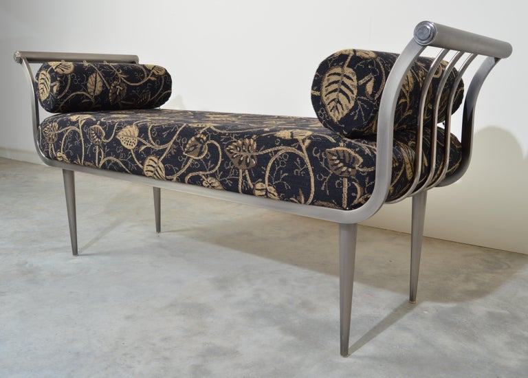 A beautiful brushed nickel Postmodern bench by DIA Design Institute of America. Gorgeous, soft upholstery having firm cushions. In very nice condition. Solid and ready for use!