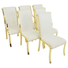 Design Institute of America DIA White and Brass Dining Chairs, Set of 6