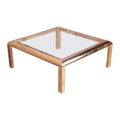 Design Institute of America Hollywood Regency Brass & Glass Cocktail Table, 1984