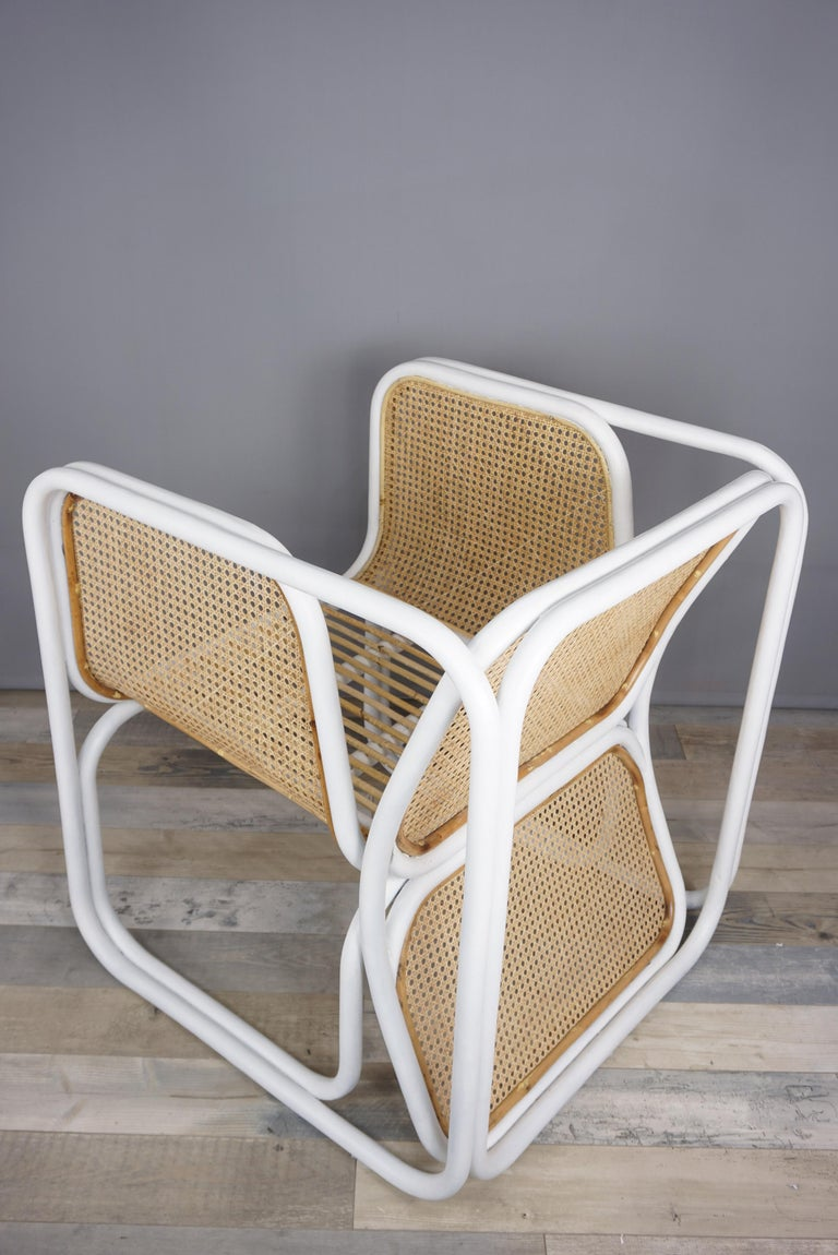 French Design Rattan and Wicker Armchair For Sale