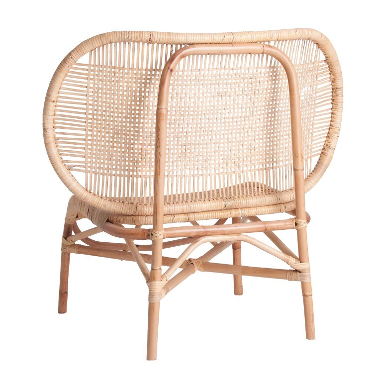 European Design Rattan and Wicker Armchair For Sale