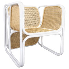MCM Design Style White Lacquered Rattan and Natural Wicker Chair