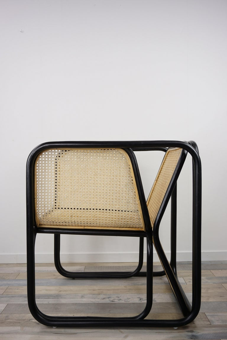 Mid-Century Modern Design Rattan and Wicker Dining Armchair For Sale