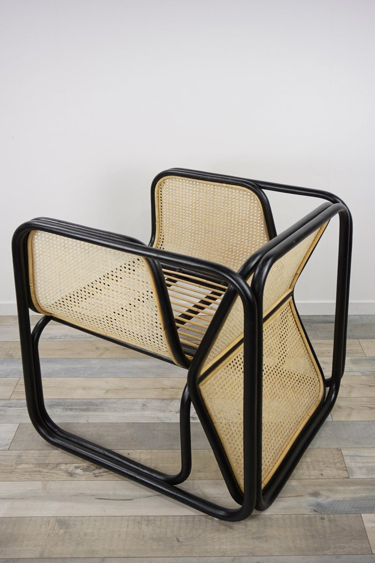 French Design Rattan and Wicker Dining Armchair For Sale