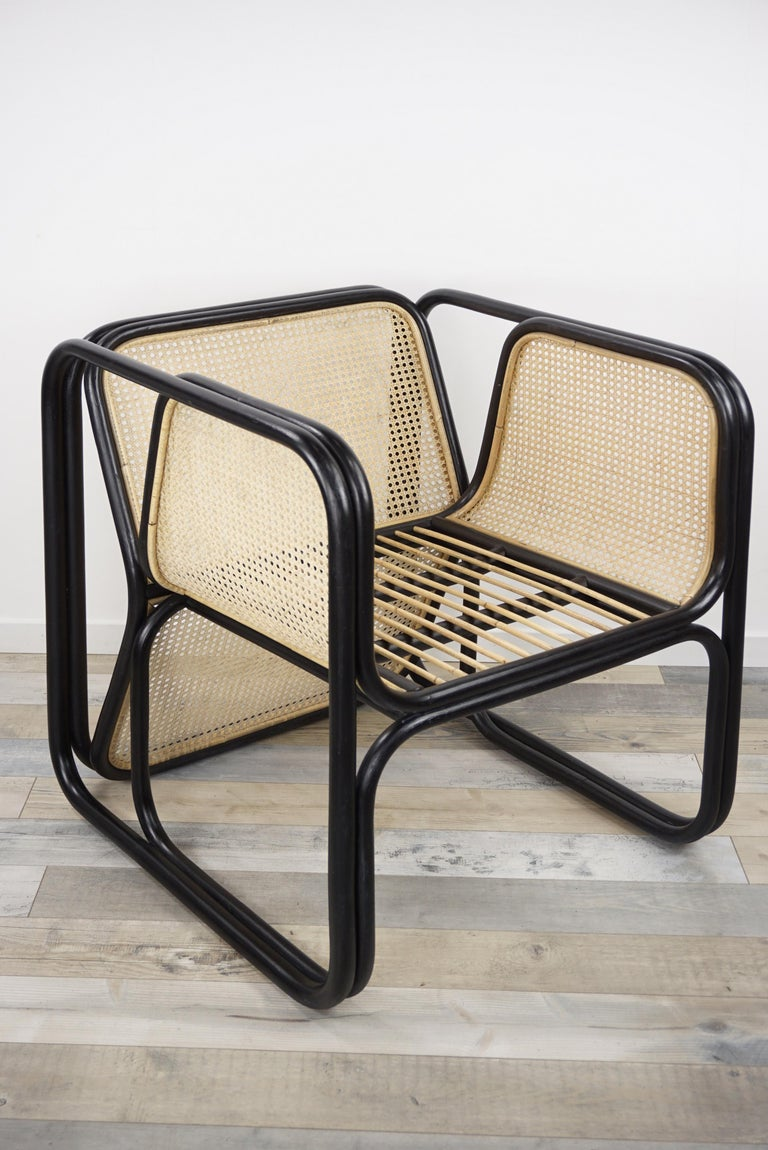 Contemporary Design Rattan and Wicker Dining Armchair For Sale