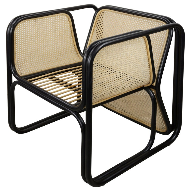 Design Rattan and Wicker Dining Armchair For Sale