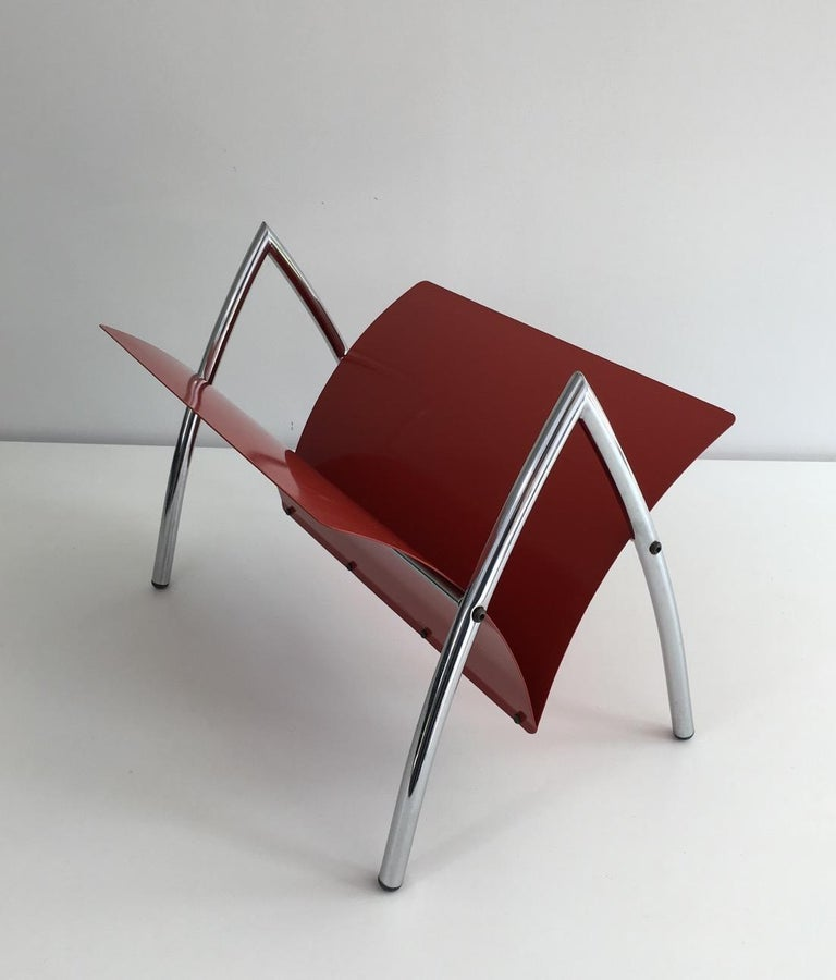 Design Red Lacquered Metal and Chrome Magazine Rack, circa 1970 For Sale 8