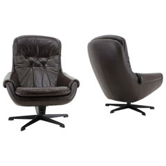 Design Scandinavian Leather Armchairs or Lounge Chairs by PEEM, 1970s