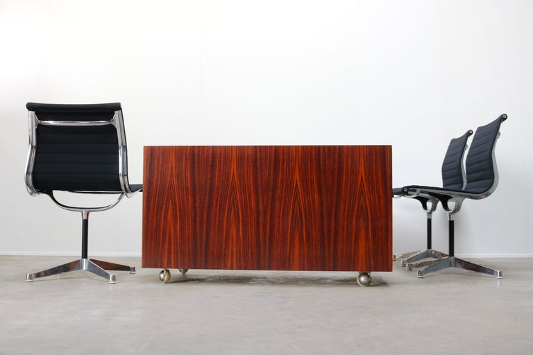 Design Sideboard / Cabinet by Florence Knoll for De Coene Leather Rosewood 1960 For Sale 4