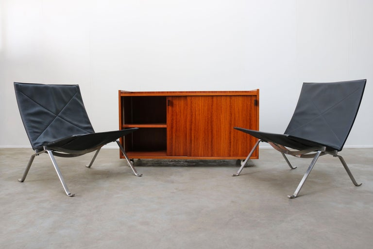 Design Sideboard / Cabinet by Florence Knoll for De Coene Leather Rosewood 1960 For Sale 5