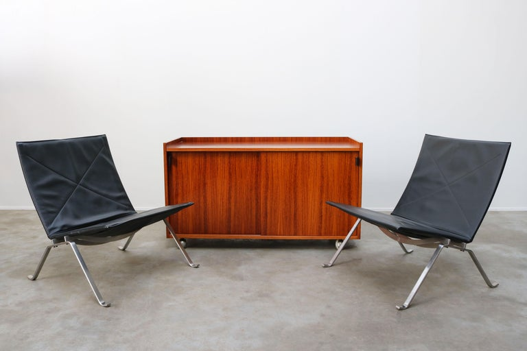 Mid-Century Modern Design Sideboard / Cabinet by Florence Knoll for De Coene Leather Rosewood 1960 For Sale