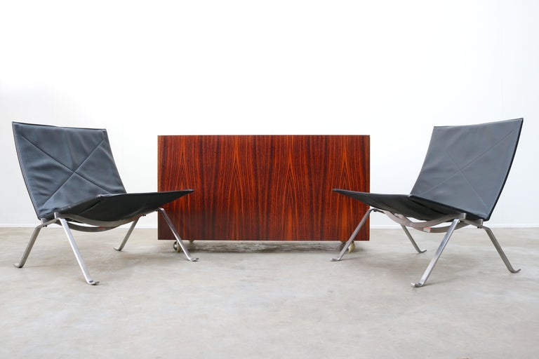 Belgian Design Sideboard / Cabinet by Florence Knoll for De Coene Leather Rosewood 1960 For Sale