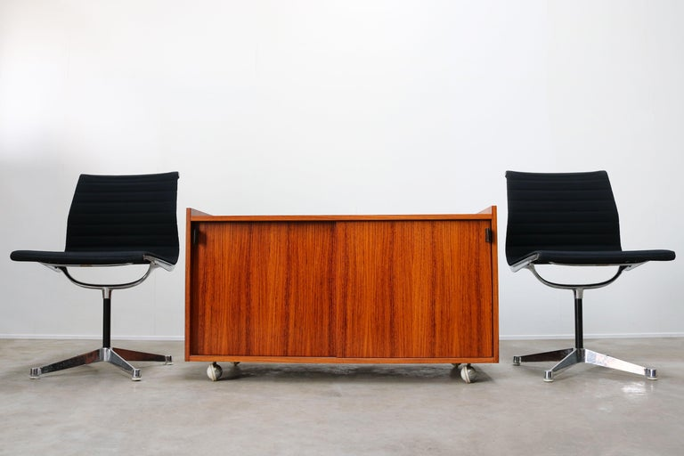 Mid-20th Century Design Sideboard / Cabinet by Florence Knoll for De Coene Leather Rosewood 1960 For Sale