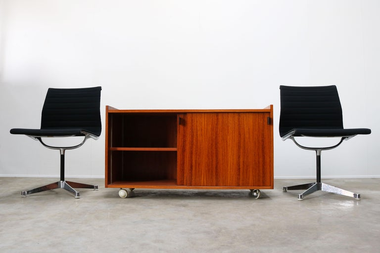 Chrome Design Sideboard / Cabinet by Florence Knoll for De Coene Leather Rosewood 1960 For Sale