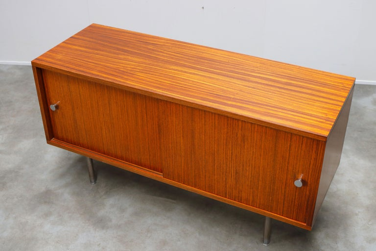 Design Sideboard / Credenza by Alfred Hendrickx for Belform Chrome Minimalist For Sale 4