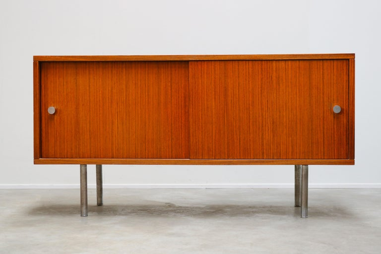 Mid-Century Modern Design Sideboard / Credenza by Alfred Hendrickx for Belform Chrome Minimalist For Sale