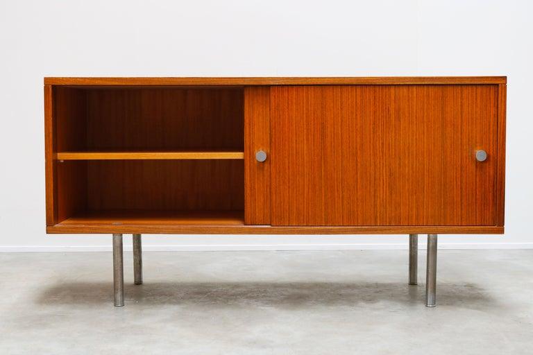 Belgian Design Sideboard / Credenza by Alfred Hendrickx for Belform Chrome Minimalist For Sale