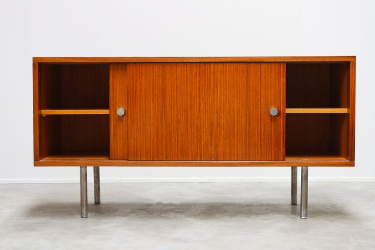 Mid-20th Century Design Sideboard / Credenza by Alfred Hendrickx for Belform Chrome Minimalist For Sale