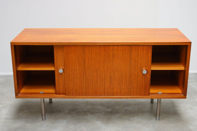 Wood Design Sideboard / Credenza by Alfred Hendrickx for Belform Chrome Minimalist For Sale