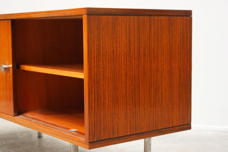 Design Sideboard / Credenza by Alfred Hendrickx for Belform Chrome Minimalist For Sale 1