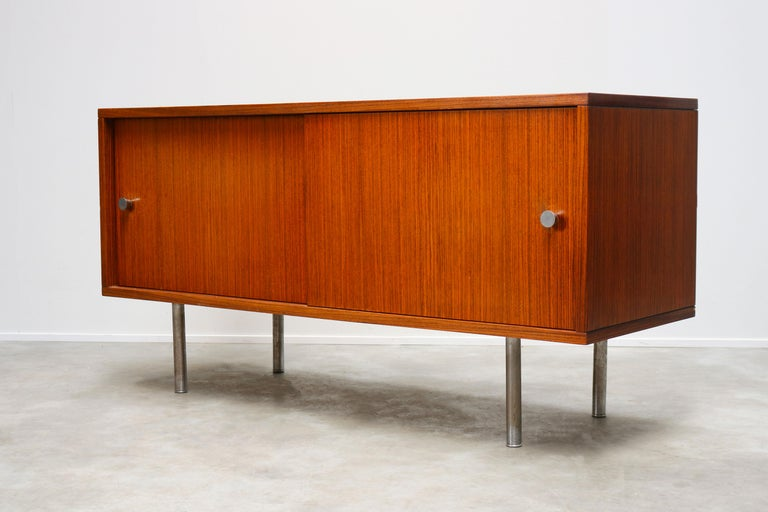 Design Sideboard / Credenza by Alfred Hendrickx for Belform Chrome Minimalist For Sale 2
