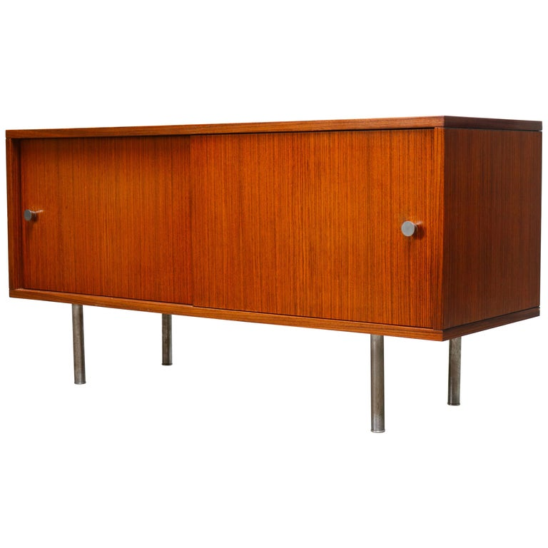 Design Sideboard / Credenza by Alfred Hendrickx for Belform Chrome Minimalist For Sale
