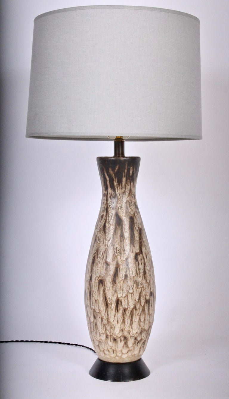Tall Design Technics  Mottled Drip Glaze Ceramic Table Lamp, 1960's For Sale 1