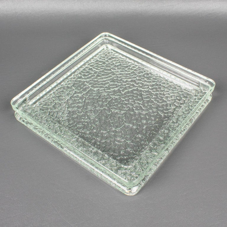 French Designed by Le Corbusier for Lumax 1950s Nevada Molded Glass Desk Tidy Ashtray For Sale