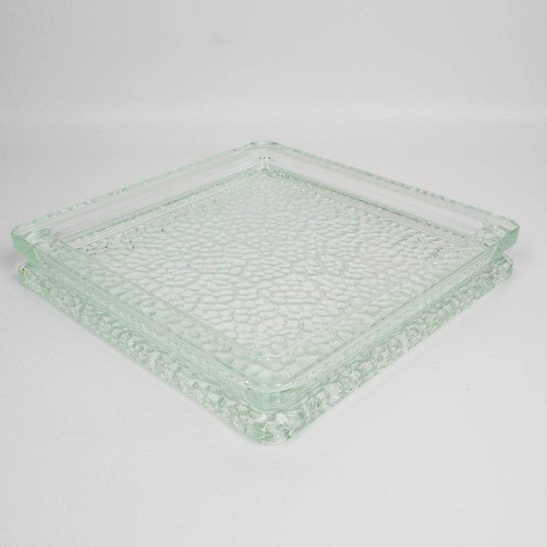 Mid-20th Century Designed by Le Corbusier for Lumax 1950s Nevada Molded Glass Desk Tidy Ashtray For Sale