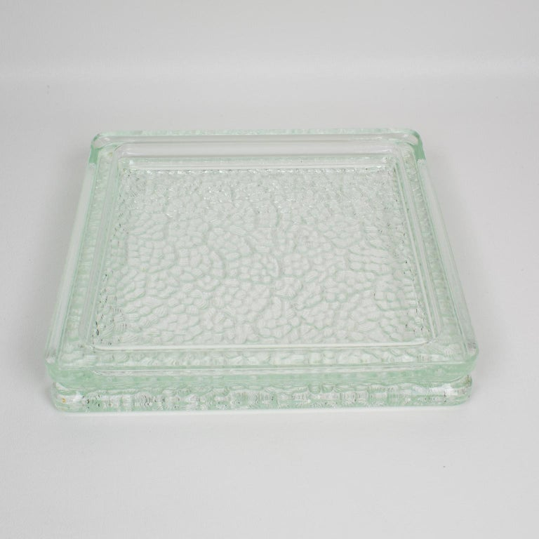 Designed by Le Corbusier for Lumax 1950s Nevada Molded Glass Desk Tidy Ashtray For Sale 1