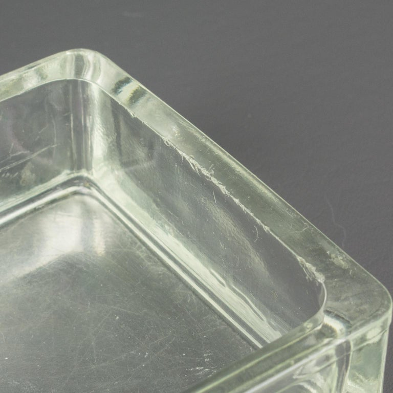 Designed by Le Corbusier for Lumax Molded Glass Desk Accessory Ashtray Catchall For Sale 4