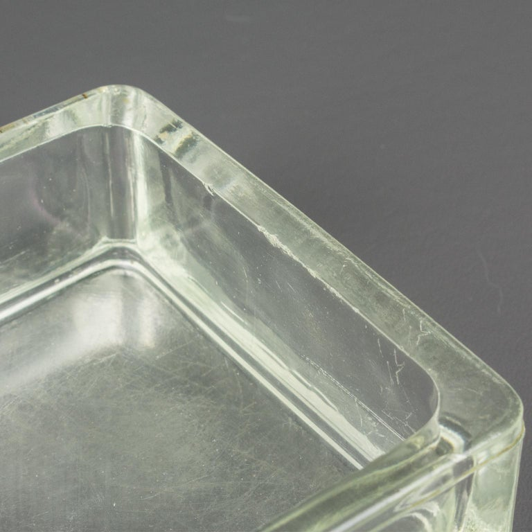 Designed by Le Corbusier for Lumax Molded Glass Desk Accessory Ashtray Catchall For Sale 5