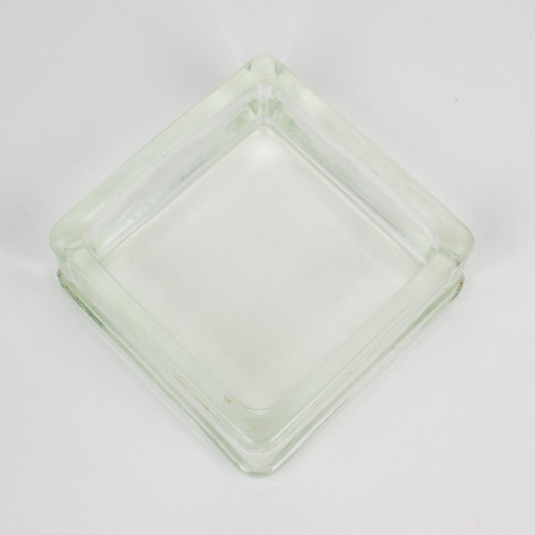 Mid-Century Modern Designed by Le Corbusier for Lumax Molded Glass Desk Accessory Ashtray Catchall For Sale