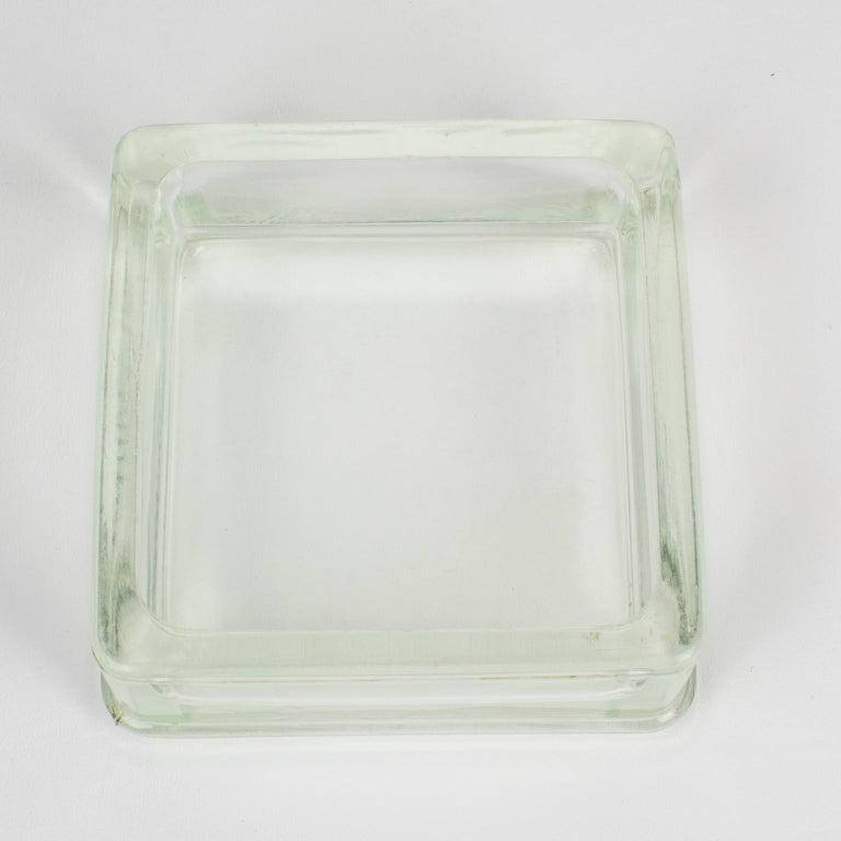 Designed by Le Corbusier for Lumax Molded Glass Desk Accessory Ashtray Catchall In Good Condition For Sale In Atlanta, GA